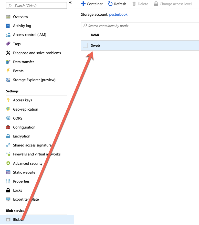 Inspecting the Azure storage blob