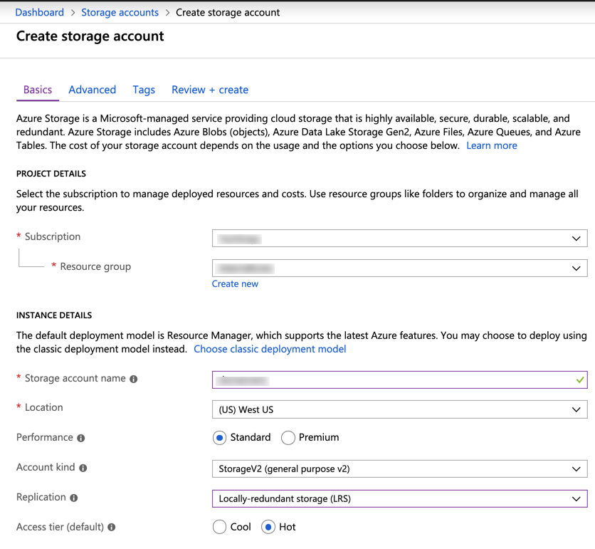 Azure Storage Account Settings