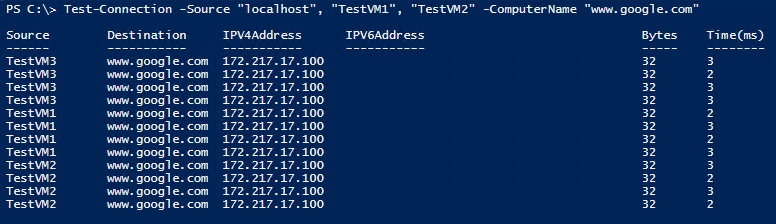 Using Source Test-NetConnection