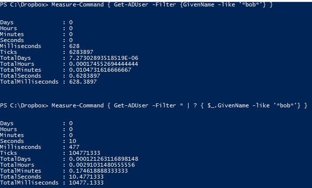 PowerShell Active Directory filter performance