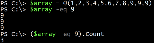 Using Eq to search arrays