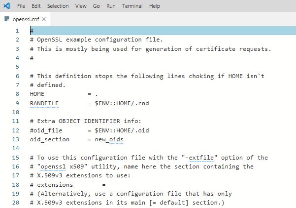 Sample OpenSSL configuration file in Visual Studio Code