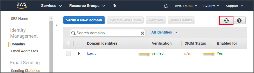 New domain is verified