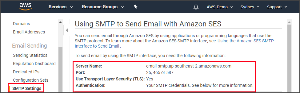 Getting the SMTP interface details