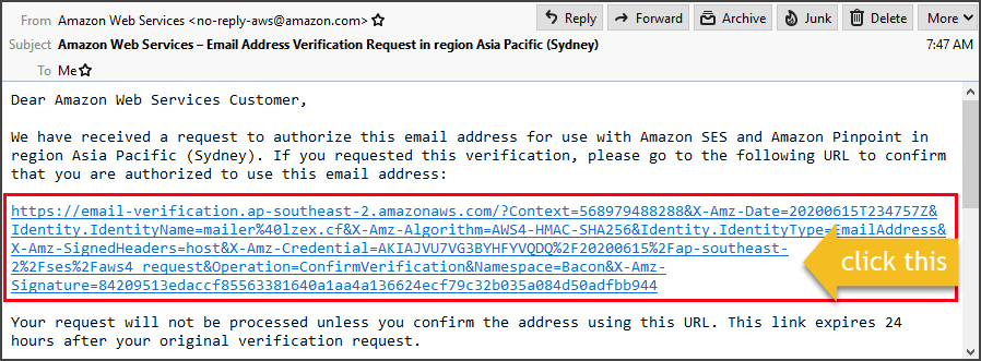 Email address verification address message