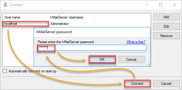 hMailServer Instance on the Connect Window