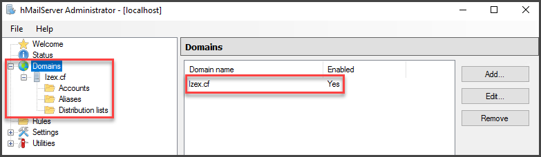 Saving Domain to the hMailServer Window