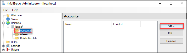Adding User to the hMailServer Window