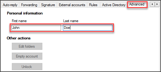 Inserting First Name and Last Name to the hMailServer Window