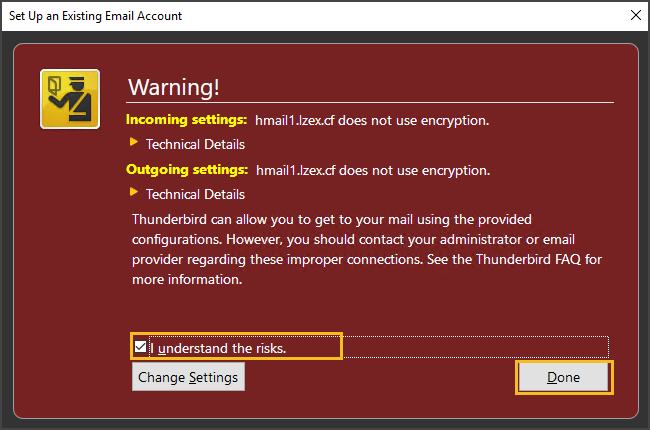 Warning Message on Encryption
