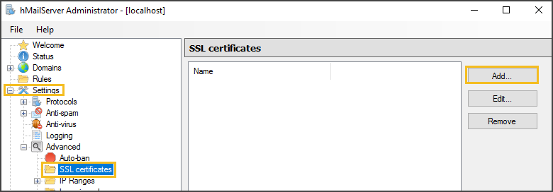 Importing an SSL Certificate