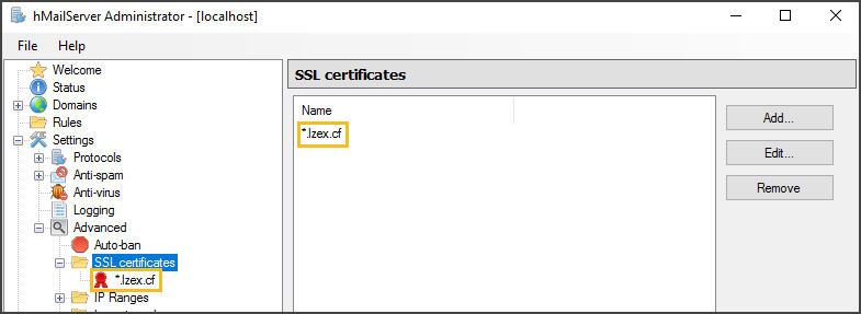 Successfully Added SSL Certificate to the hMailServer Admin Window