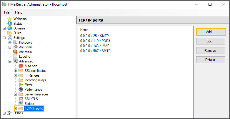 TCP/IP Ports Folder