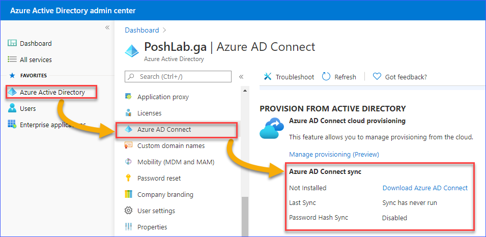 Getting the Azure AD Connect status from the Admin Center