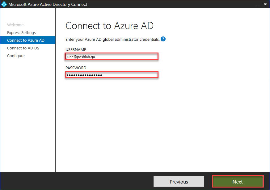 Provide the Azure AD Global administrator account