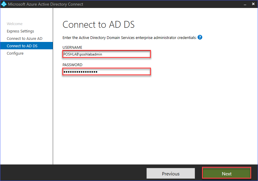 Provide the Active Directory enterprise administrator account
