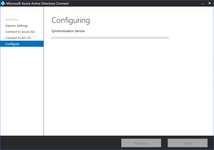 Azure AD Connect installation in progress