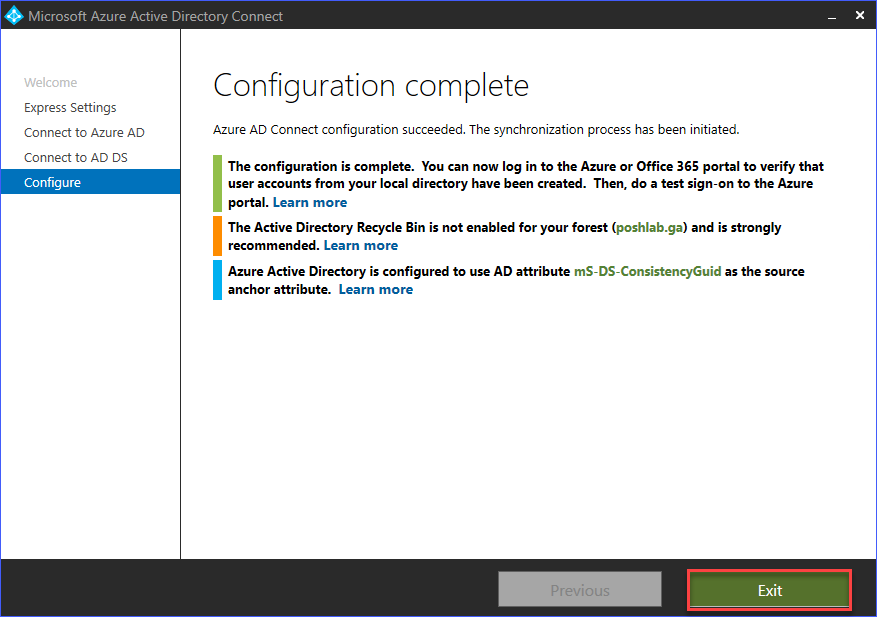 Azure AD Connect installation completed