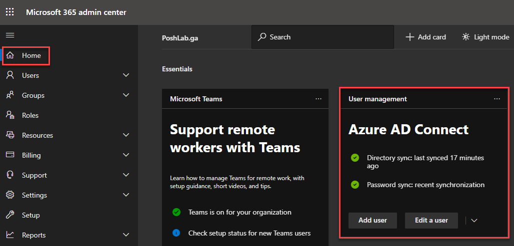 Azure AD Connect status in the Microsoft 365 Admin Center