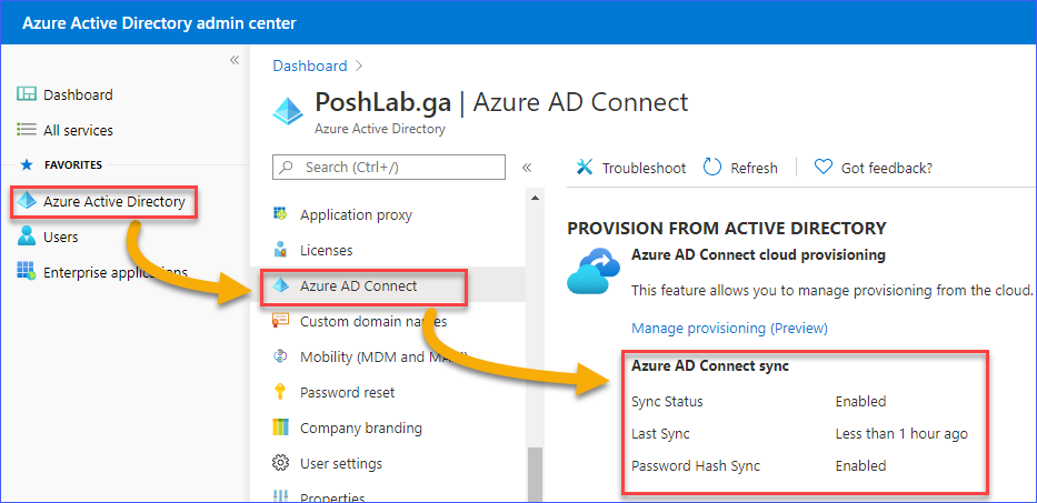 Azure AD Connect status in the Azure AD Admin Center