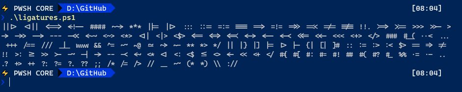 Ligatures in New Windows Terminal