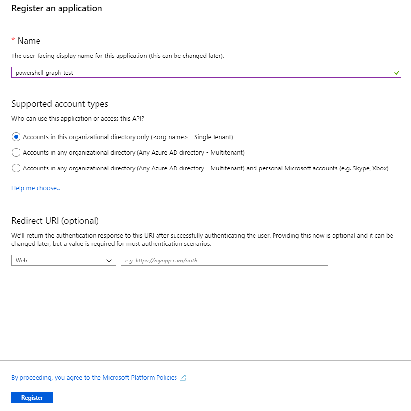 Creating an App Registration in Azure Portal