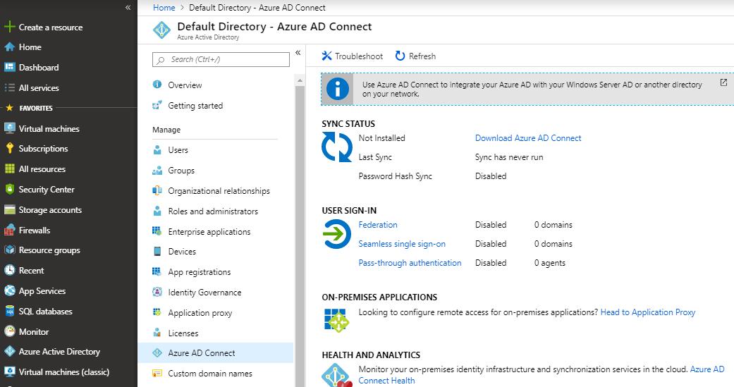 Azure Portal - Azure AD Connect