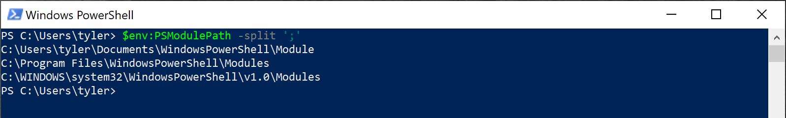 Viewing module paths with $env:PSModulePath