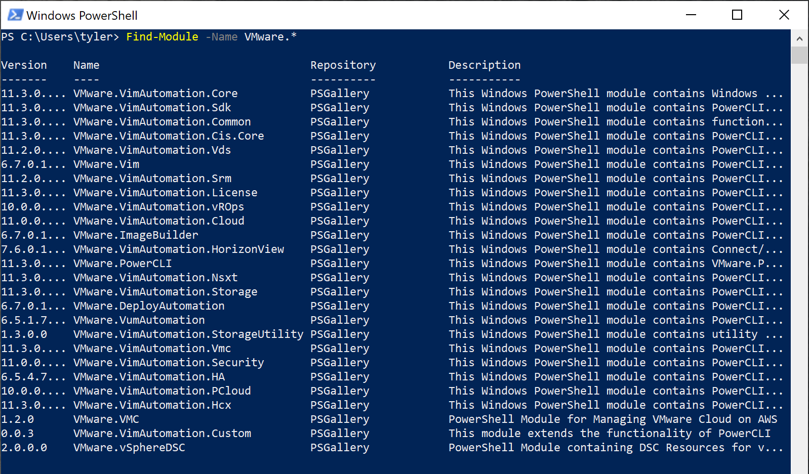 Finding modules on the PowerShell Gallery