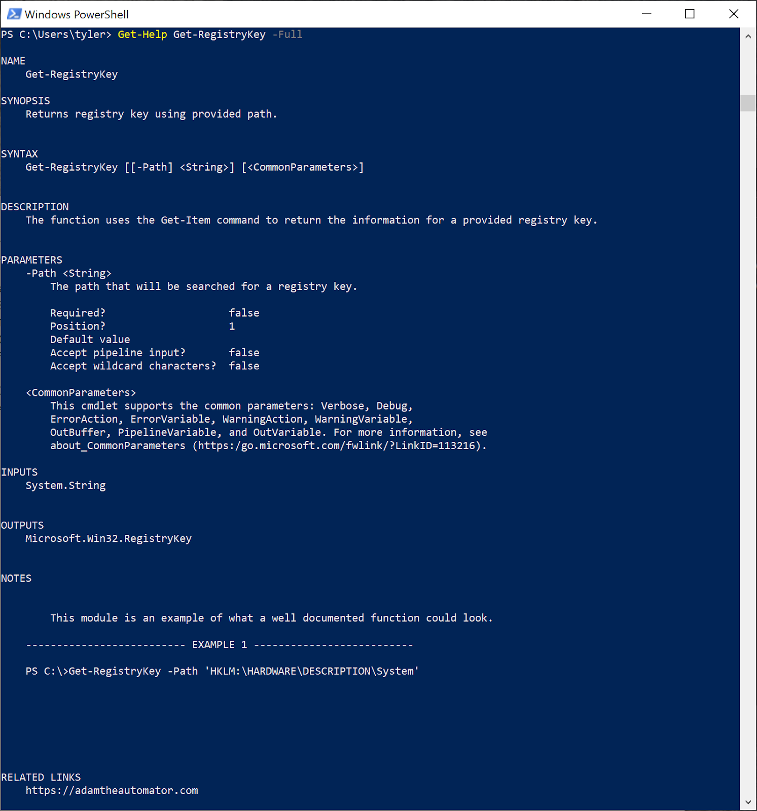 Getting full help content with Get-Help