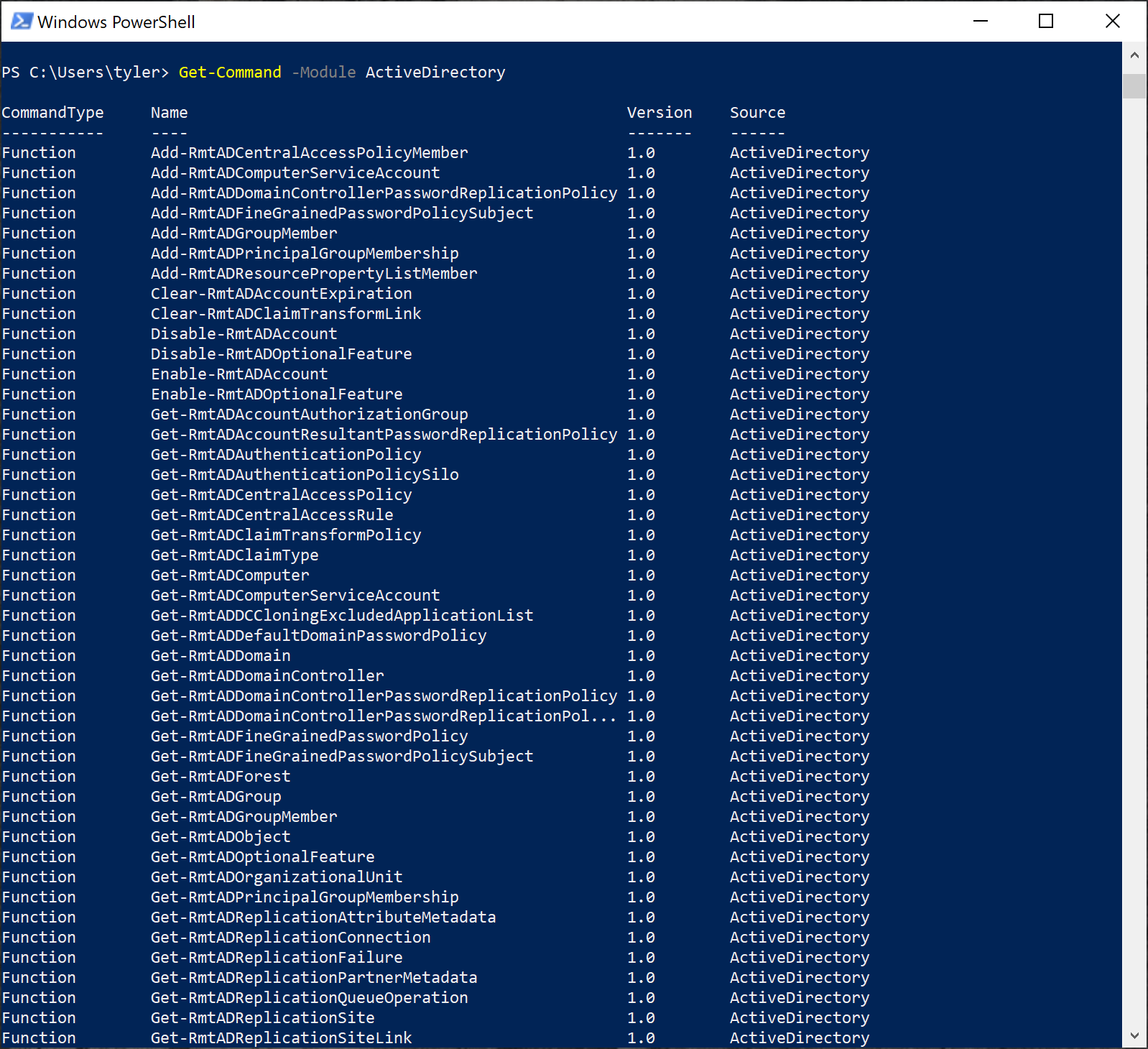 Viewing all available commands in a module