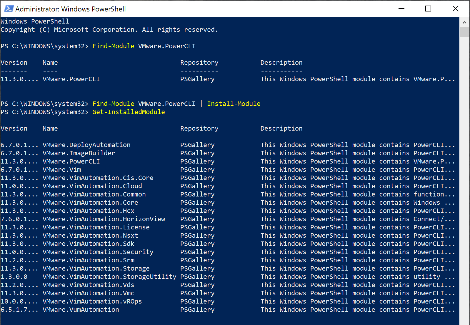 Finding modules installed from a PSRepository