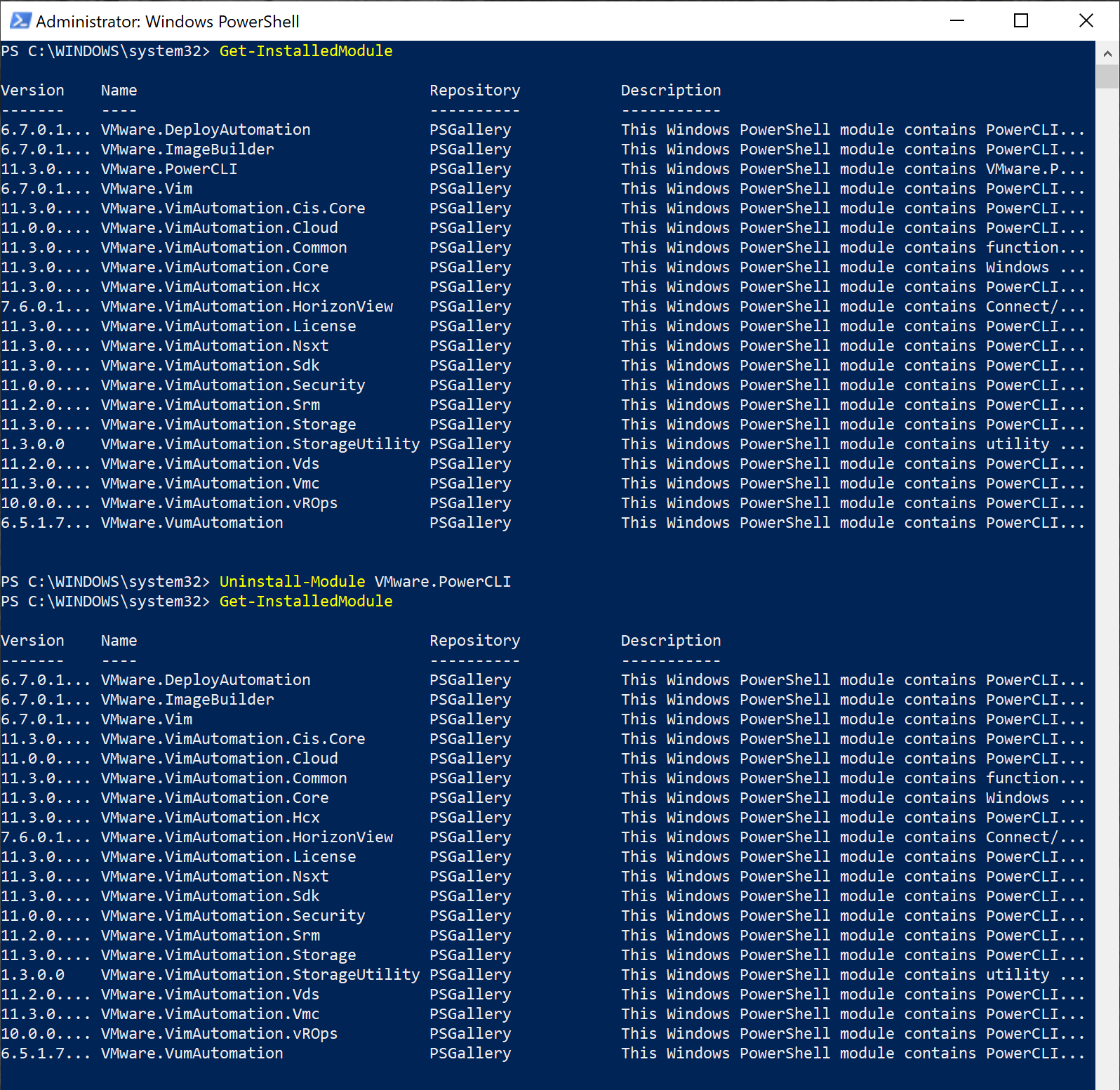 Uninstalling a module downloaded from the PowerShell Gallery
