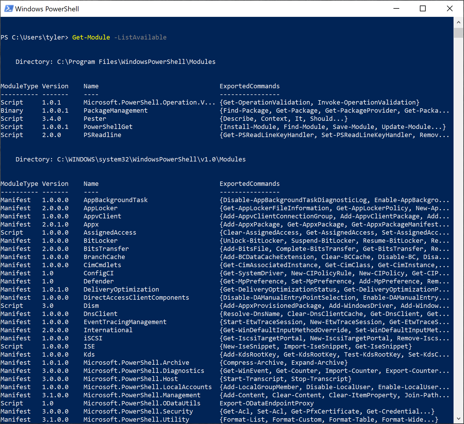 Listing all available modules with Get-Module -ListAvailable
