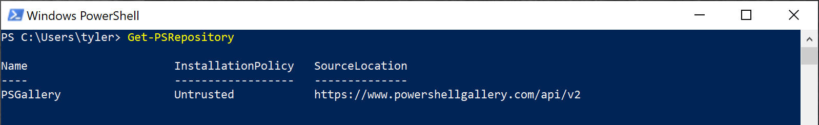 Default PowerShell NuGet repositories