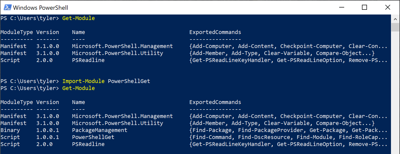 Importing modules with Import-Module