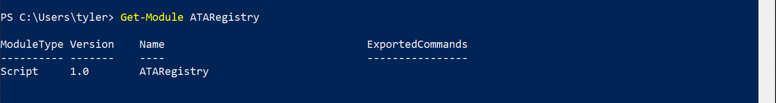 No exported commands