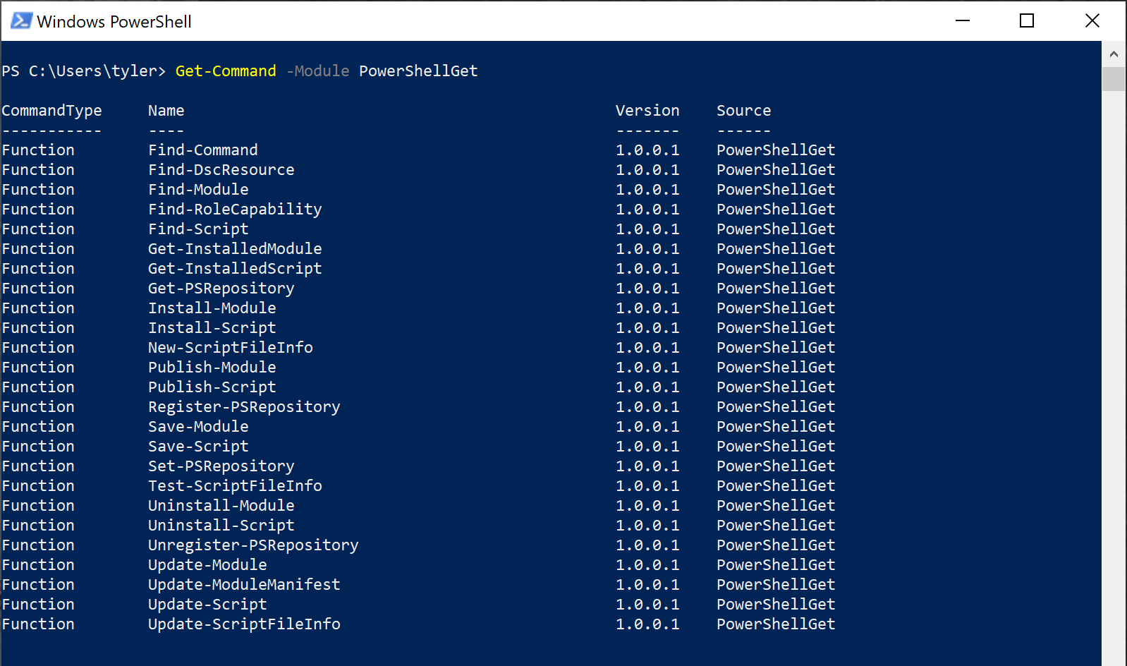 Commands in the PowerShellGet module