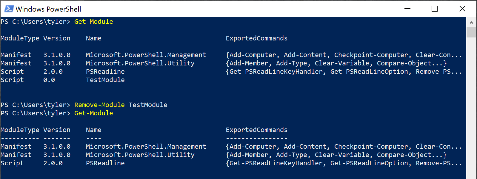 Removing a module from the session