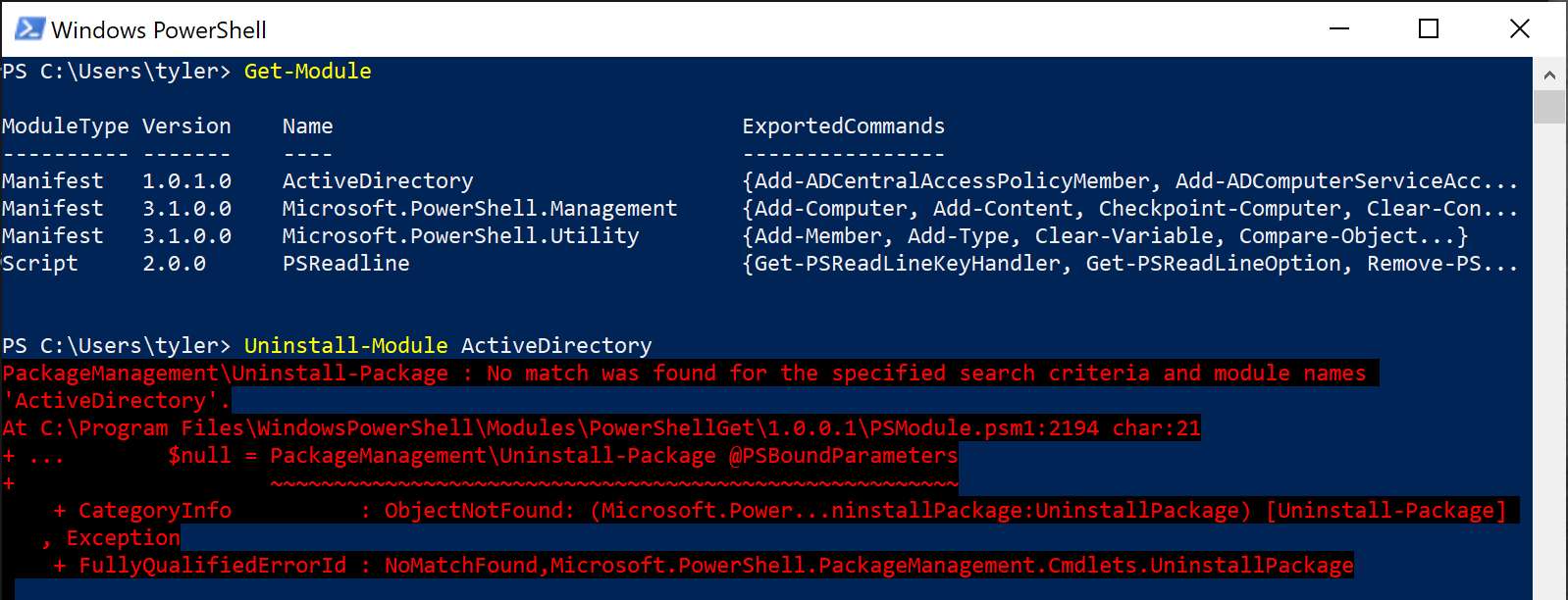 Uninstalling modules installed from a PSRepository with Uninstall-Module