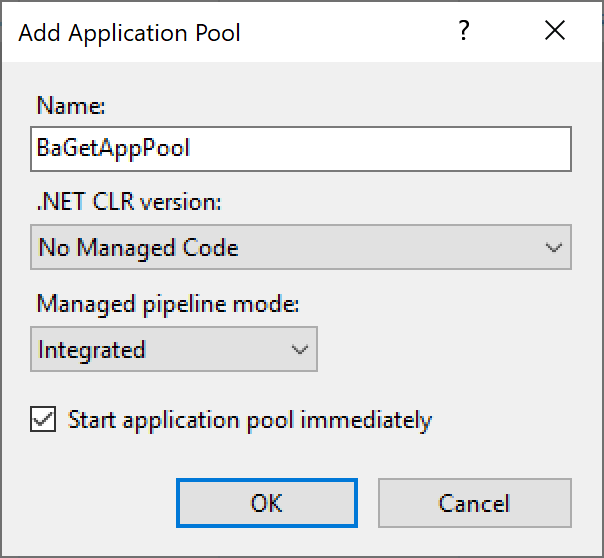 Creating a BaGet application pool