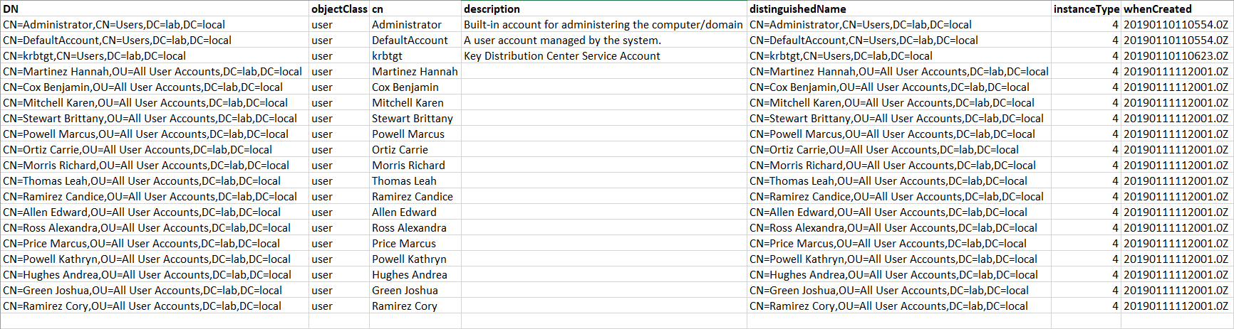User export CSV file viewed in Excel