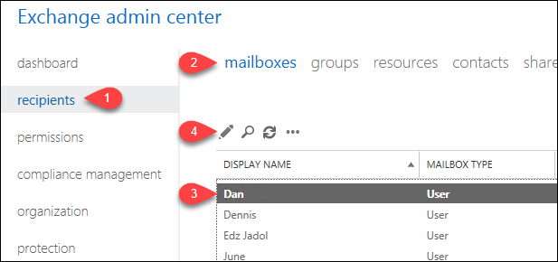 Opening the Mailbox Properties