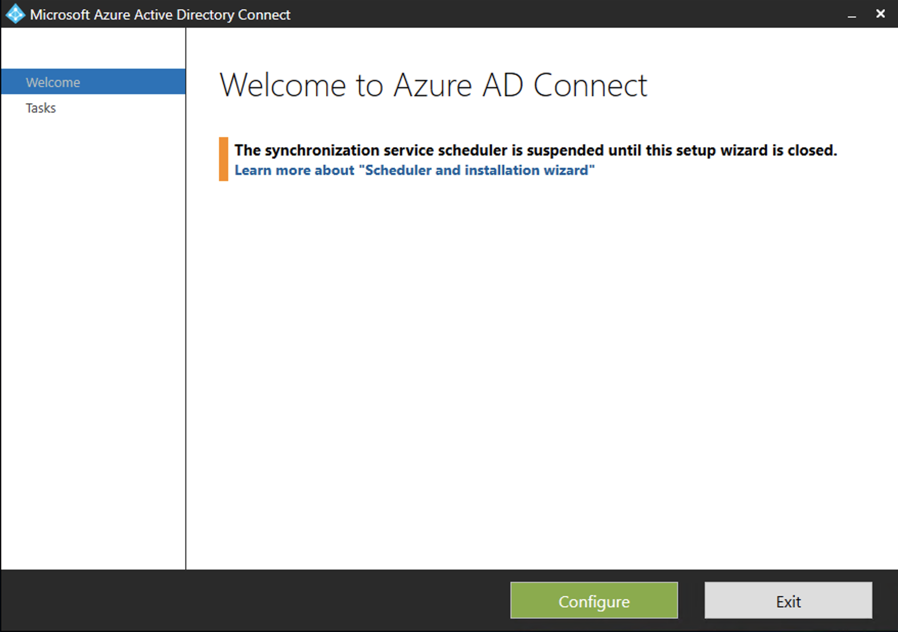 Azure AD Connect Welcome box
