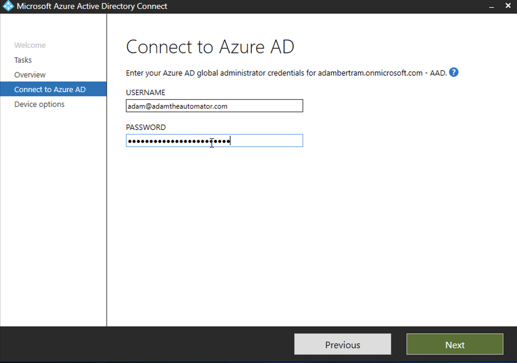 Adding username to connect to Azure AD