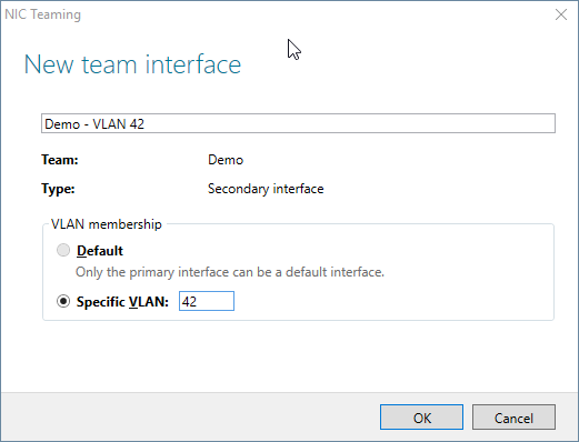 New Team interface dialog box