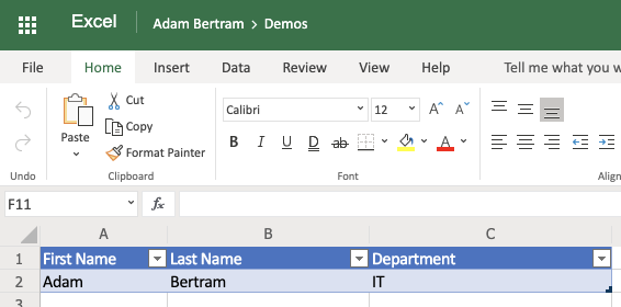 Excel document will contain a row containing an example employee with the department