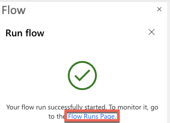Flow Runs page link