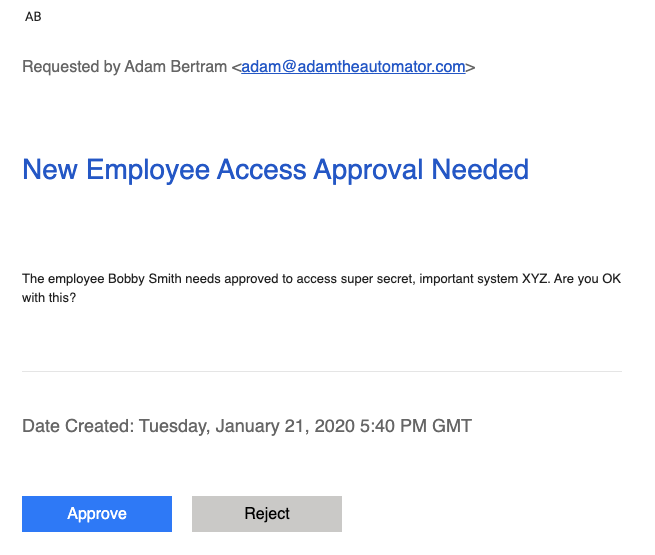 Approval email