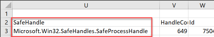 CSV output of the notepad process object